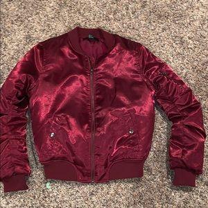 red forever 21 bomber jacket